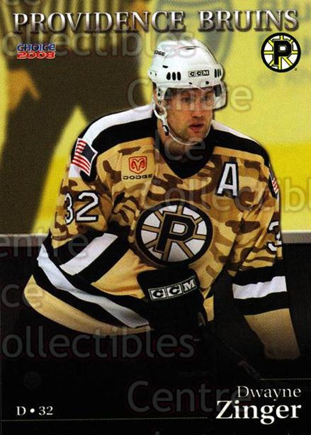 2007-08 Providence Bruins #25 Dwayne Zinger<br/>9 In Stock - $3.00 each - <a href=https://centericecollectibles.foxycart.com/cart?name=2007-08%20Providence%20Bruins%20%2325%20Dwayne%20Zinger...&price=$3.00&code=230031 class=foxycart> Buy it now! </a>