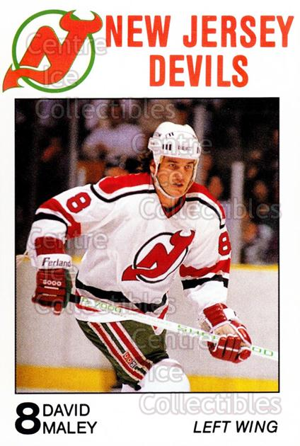 1988-89 New Jersey Devils Caretta #19 David Maley<br/>7 In Stock - $3.00 each - <a href=https://centericecollectibles.foxycart.com/cart?name=1988-89%20New%20Jersey%20Devils%20Caretta%20%2319%20David%20Maley...&quantity_max=7&price=$3.00&code=23003 class=foxycart> Buy it now! </a>