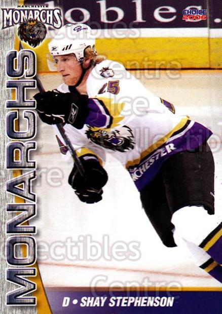 2006-07 Manchester Monarchs #20 Shay Stephenson<br/>5 In Stock - $3.00 each - <a href=https://centericecollectibles.foxycart.com/cart?name=2006-07%20Manchester%20Monarchs%20%2320%20Shay%20Stephenson...&price=$3.00&code=230076 class=foxycart> Buy it now! </a>