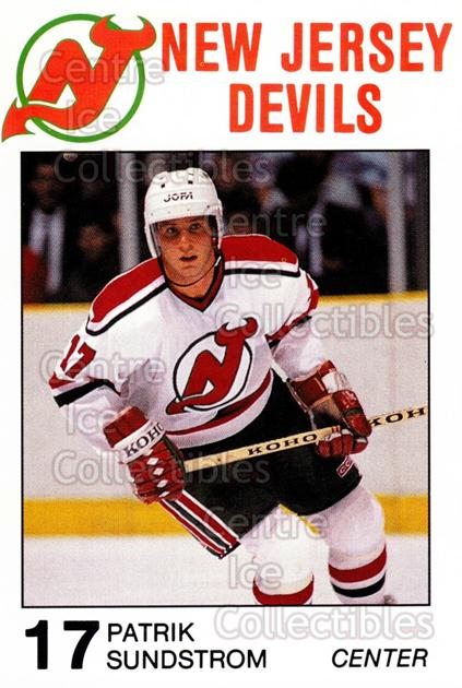 1988-89 New Jersey Devils Caretta #27 Patrik Sundstrom<br/>5 In Stock - $3.00 each - <a href=https://centericecollectibles.foxycart.com/cart?name=1988-89%20New%20Jersey%20Devils%20Caretta%20%2327%20Patrik%20Sundstro...&quantity_max=5&price=$3.00&code=23012 class=foxycart> Buy it now! </a>