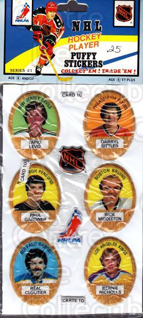 1983-84 Puffy Stickers #10 Tapio Levo, Darryl Sittler, Paul Gardner, Rick Middleton, Real Cloutier, Bernie Nicholls<br/>1 In Stock - $5.00 each - <a href=https://centericecollectibles.foxycart.com/cart?name=1983-84%20Puffy%20Stickers%20%2310%20Tapio%20Levo,%20Dar...&quantity_max=1&price=$5.00&code=230157 class=foxycart> Buy it now! </a>