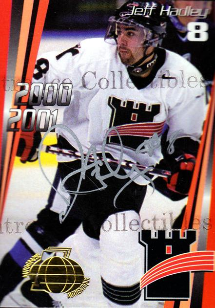 2000-01 Quebec Remparts Autographed #5 Jeff Hadley<br/>3 In Stock - $5.00 each - <a href=https://centericecollectibles.foxycart.com/cart?name=2000-01%20Quebec%20Remparts%20Autographed%20%235%20Jeff%20Hadley...&price=$5.00&code=230260 class=foxycart> Buy it now! </a>