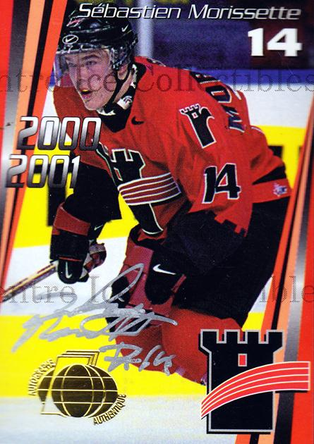 2000-01 Quebec Remparts Autographed #7 Sebastien Morissette<br/>4 In Stock - $5.00 each - <a href=https://centericecollectibles.foxycart.com/cart?name=2000-01%20Quebec%20Remparts%20Autographed%20%237%20Sebastien%20Moris...&price=$5.00&code=230262 class=foxycart> Buy it now! </a>
