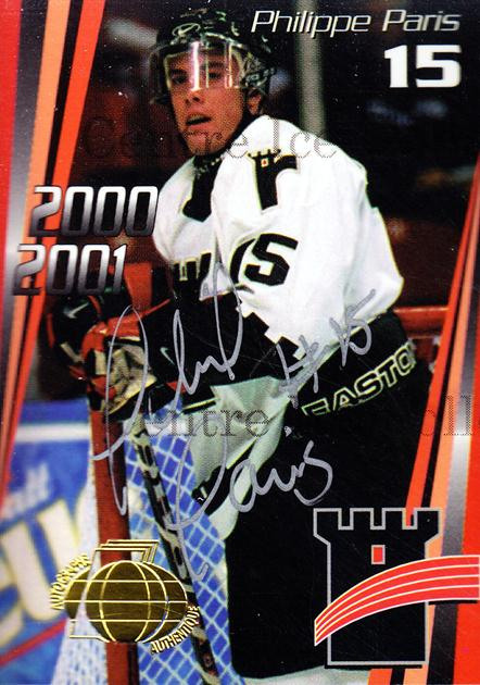 2000-01 Quebec Remparts Autographed #8 Philippe Paris<br/>4 In Stock - $5.00 each - <a href=https://centericecollectibles.foxycart.com/cart?name=2000-01%20Quebec%20Remparts%20Autographed%20%238%20Philippe%20Paris...&price=$5.00&code=230263 class=foxycart> Buy it now! </a>
