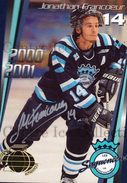 2000-01 Chicoutimi Sagueneens Autographed #6 Jonathan Francoeur<br/>2 In Stock - $5.00 each - <a href=https://centericecollectibles.foxycart.com/cart?name=2000-01%20Chicoutimi%20Sagueneens%20Autographed%20%236%20Jonathan%20Franco...&price=$5.00&code=230284 class=foxycart> Buy it now! </a>