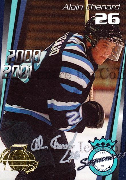 2000-01 Chicoutimi Sagueneens Autographed #14 Alain Chenard<br/>2 In Stock - $5.00 each - <a href=https://centericecollectibles.foxycart.com/cart?name=2000-01%20Chicoutimi%20Sagueneens%20Autographed%20%2314%20Alain%20Chenard...&price=$5.00&code=230292 class=foxycart> Buy it now! </a>