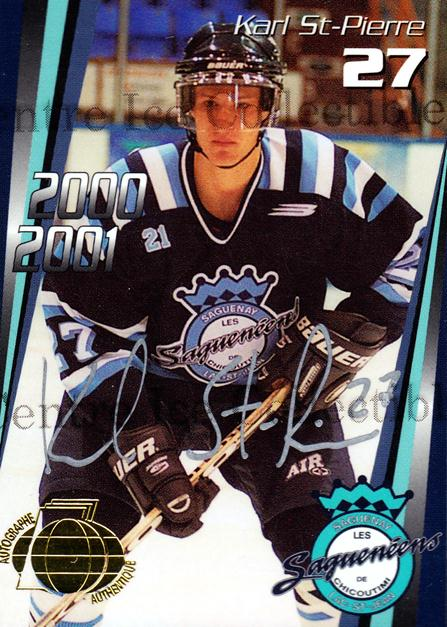 2000-01 Chicoutimi Sagueneens Autographed #15 Karl St.Pierre<br/>1 In Stock - $5.00 each - <a href=https://centericecollectibles.foxycart.com/cart?name=2000-01%20Chicoutimi%20Sagueneens%20Autographed%20%2315%20Karl%20St.Pierre...&price=$5.00&code=230293 class=foxycart> Buy it now! </a>