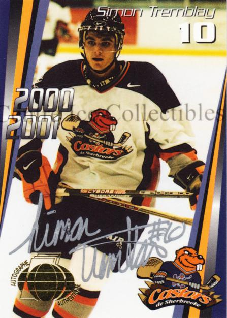 2000-01 Sherbrooke Castors Autographed #3 Simon Tremblay<br/>2 In Stock - $5.00 each - <a href=https://centericecollectibles.foxycart.com/cart?name=2000-01%20Sherbrooke%20Castors%20Autographed%20%233%20Simon%20Tremblay...&price=$5.00&code=230304 class=foxycart> Buy it now! </a>