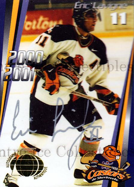 2000-01 Sherbrooke Castors Autographed #4 Eric Lavigne<br/>2 In Stock - $5.00 each - <a href=https://centericecollectibles.foxycart.com/cart?name=2000-01%20Sherbrooke%20Castors%20Autographed%20%234%20Eric%20Lavigne...&price=$5.00&code=230305 class=foxycart> Buy it now! </a>