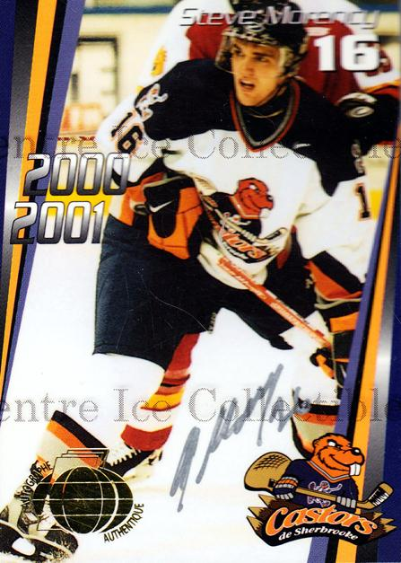 2000-01 Sherbrooke Castors Autographed #6 Steve Morency<br/>3 In Stock - $5.00 each - <a href=https://centericecollectibles.foxycart.com/cart?name=2000-01%20Sherbrooke%20Castors%20Autographed%20%236%20Steve%20Morency...&price=$5.00&code=230307 class=foxycart> Buy it now! </a>