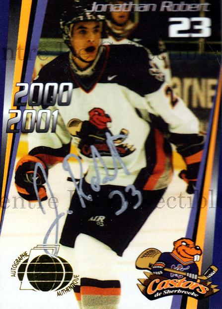 2000-01 Sherbrooke Castors Autographed #9 Jonathan Robert<br/>2 In Stock - $5.00 each - <a href=https://centericecollectibles.foxycart.com/cart?name=2000-01%20Sherbrooke%20Castors%20Autographed%20%239%20Jonathan%20Robert...&price=$5.00&code=230309 class=foxycart> Buy it now! </a>