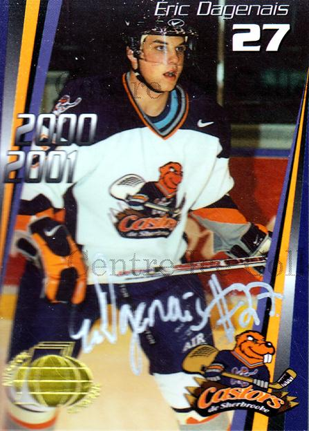 2000-01 Sherbrooke Castors Autographed #11 Eric Dagenais<br/>3 In Stock - $5.00 each - <a href=https://centericecollectibles.foxycart.com/cart?name=2000-01%20Sherbrooke%20Castors%20Autographed%20%2311%20Eric%20Dagenais...&price=$5.00&code=230310 class=foxycart> Buy it now! </a>