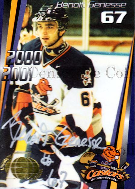 2000-01 Sherbrooke Castors Autographed #15 Benoit Genesse<br/>3 In Stock - $5.00 each - <a href=https://centericecollectibles.foxycart.com/cart?name=2000-01%20Sherbrooke%20Castors%20Autographed%20%2315%20Benoit%20Genesse...&price=$5.00&code=230314 class=foxycart> Buy it now! </a>