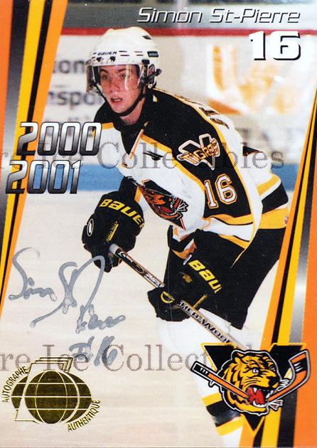 2000-01 Victoriaville Tigres Autographed #6 Simon St.Pierre<br/>3 In Stock - $5.00 each - <a href=https://centericecollectibles.foxycart.com/cart?name=2000-01%20Victoriaville%20Tigres%20Autographed%20%236%20Simon%20St.Pierre...&quantity_max=3&price=$5.00&code=230326 class=foxycart> Buy it now! </a>