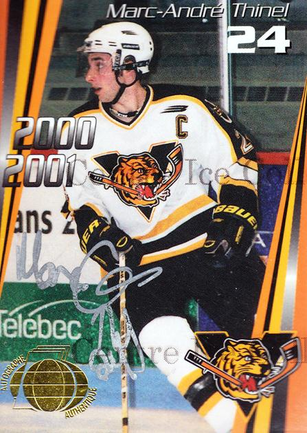 2000-01 Victoriaville Tigres Autographed #9 Marc-Andre Thinel<br/>2 In Stock - $5.00 each - <a href=https://centericecollectibles.foxycart.com/cart?name=2000-01%20Victoriaville%20Tigres%20Autographed%20%239%20Marc-Andre%20Thin...&quantity_max=2&price=$5.00&code=230329 class=foxycart> Buy it now! </a>