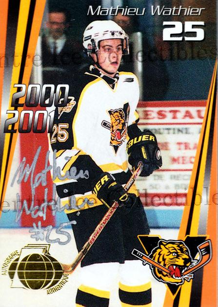 2000-01 Victoriaville Tigres Autographed #10 Mathieu Wathier<br/>3 In Stock - $5.00 each - <a href=https://centericecollectibles.foxycart.com/cart?name=2000-01%20Victoriaville%20Tigres%20Autographed%20%2310%20Mathieu%20Wathier...&quantity_max=3&price=$5.00&code=230330 class=foxycart> Buy it now! </a>