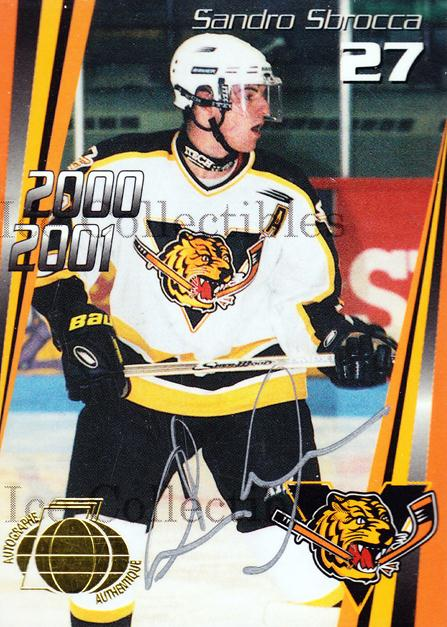 2000-01 Victoriaville Tigres Autographed #12 Sandro Sbrocca<br/>2 In Stock - $5.00 each - <a href=https://centericecollectibles.foxycart.com/cart?name=2000-01%20Victoriaville%20Tigres%20Autographed%20%2312%20Sandro%20Sbrocca...&quantity_max=2&price=$5.00&code=230332 class=foxycart> Buy it now! </a>