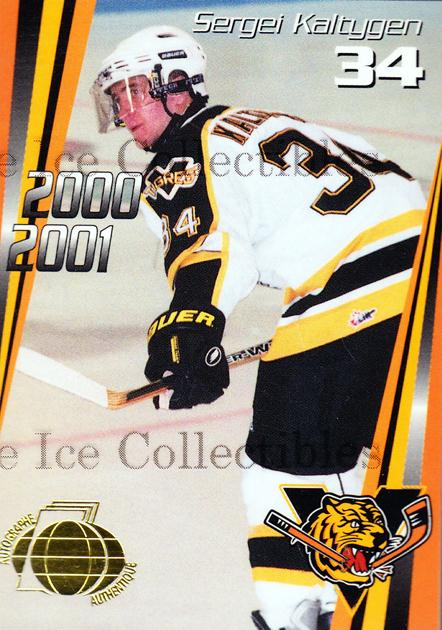 2000-01 Victoriaville Tigres Autographed #14 Sergei Kaltygen<br/>2 In Stock - $5.00 each - <a href=https://centericecollectibles.foxycart.com/cart?name=2000-01%20Victoriaville%20Tigres%20Autographed%20%2314%20Sergei%20Kaltygen...&quantity_max=2&price=$5.00&code=230334 class=foxycart> Buy it now! </a>