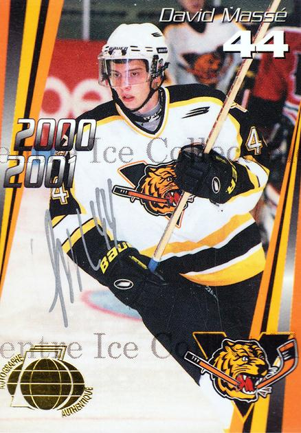 2000-01 Victoriaville Tigres Autographed #18 David Masse<br/>3 In Stock - $5.00 each - <a href=https://centericecollectibles.foxycart.com/cart?name=2000-01%20Victoriaville%20Tigres%20Autographed%20%2318%20David%20Masse...&quantity_max=3&price=$5.00&code=230338 class=foxycart> Buy it now! </a>