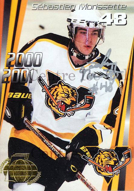 2000-01 Victoriaville Tigres Autographed #21 Sebastien Morissette<br/>3 In Stock - $5.00 each - <a href=https://centericecollectibles.foxycart.com/cart?name=2000-01%20Victoriaville%20Tigres%20Autographed%20%2321%20Sebastien%20Moris...&quantity_max=3&price=$5.00&code=230341 class=foxycart> Buy it now! </a>