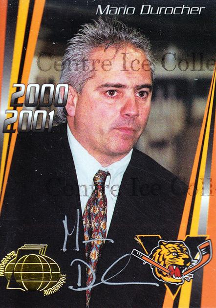 2000-01 Victoriaville Tigres Autographed #24 Mario Durocher<br/>3 In Stock - $5.00 each - <a href=https://centericecollectibles.foxycart.com/cart?name=2000-01%20Victoriaville%20Tigres%20Autographed%20%2324%20Mario%20Durocher...&quantity_max=3&price=$5.00&code=230344 class=foxycart> Buy it now! </a>