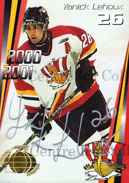 2000-01 Baie Comeau Drakkar Autographed #12 Yanick Lehoux<br/>4 In Stock - $5.00 each - <a href=https://centericecollectibles.foxycart.com/cart?name=2000-01%20Baie%20Comeau%20Drakkar%20Autographed%20%2312%20Yanick%20Lehoux...&quantity_max=4&price=$5.00&code=230356 class=foxycart> Buy it now! </a>