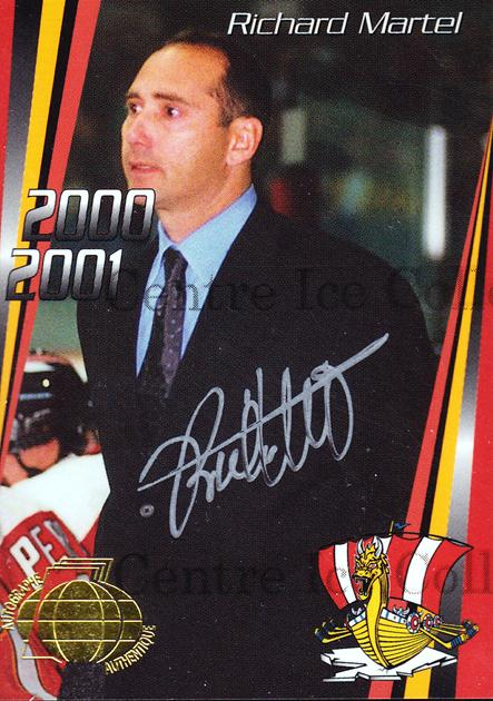 2000-01 Baie Comeau Drakkar Autographed #25 Richard Martel, Checklist<br/>4 In Stock - $5.00 each - <a href=https://centericecollectibles.foxycart.com/cart?name=2000-01%20Baie%20Comeau%20Drakkar%20Autographed%20%2325%20Richard%20Martel,...&quantity_max=4&price=$5.00&code=230369 class=foxycart> Buy it now! </a>