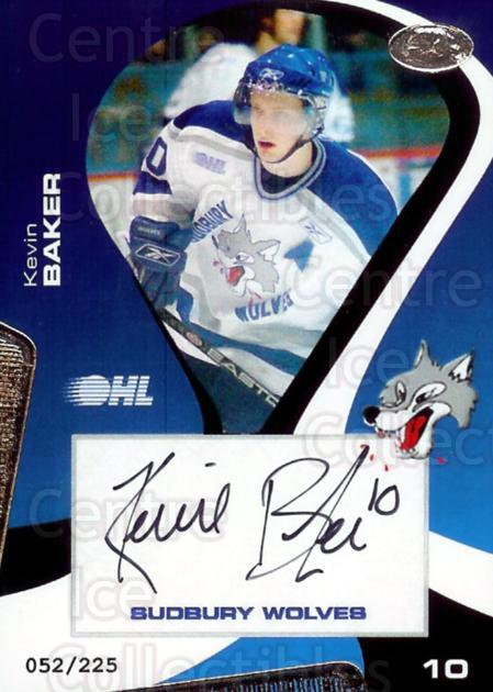 2005-06 Sudbury Wolves Autographed #9 Kevin Baker<br/>3 In Stock - $5.00 each - <a href=https://centericecollectibles.foxycart.com/cart?name=2005-06%20Sudbury%20Wolves%20Autographed%20%239%20Kevin%20Baker...&quantity_max=3&price=$5.00&code=230404 class=foxycart> Buy it now! </a>