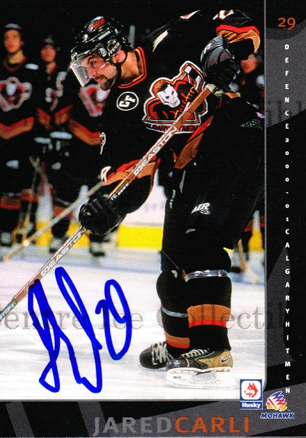 2000-01 Calgary Hitmen Autographed #7 Jared Carli<br/>1 In Stock - $5.00 each - <a href=https://centericecollectibles.foxycart.com/cart?name=2000-01%20Calgary%20Hitmen%20Autographed%20%237%20Jared%20Carli...&quantity_max=1&price=$5.00&code=230424 class=foxycart> Buy it now! </a>