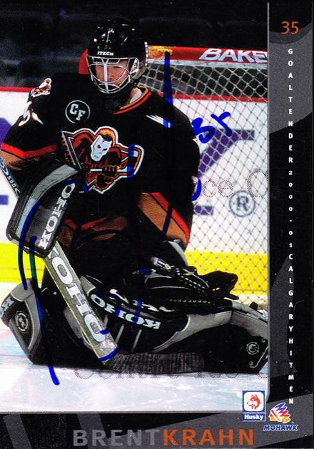 2000-01 Calgary Hitmen Autographed #21 Brent Krahn<br/>1 In Stock - $5.00 each - <a href=https://centericecollectibles.foxycart.com/cart?name=2000-01%20Calgary%20Hitmen%20Autographed%20%2321%20Brent%20Krahn...&quantity_max=1&price=$5.00&code=230438 class=foxycart> Buy it now! </a>
