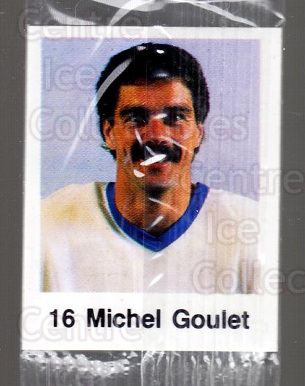 1988-89 Frito-Lay Stickers #22 Michel Goulet<br/>7 In Stock - $3.00 each - <a href=https://centericecollectibles.foxycart.com/cart?name=1988-89%20Frito-Lay%20Stickers%20%2322%20Michel%20Goulet...&quantity_max=7&price=$3.00&code=23103 class=foxycart> Buy it now! </a>