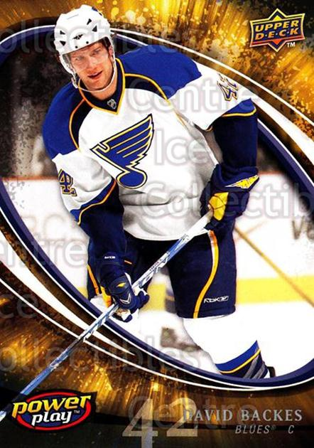 2008-09 UD Power Play #252 David Backes<br/>5 In Stock - $1.00 each - <a href=https://centericecollectibles.foxycart.com/cart?name=2008-09%20UD%20Power%20Play%20%23252%20David%20Backes...&quantity_max=5&price=$1.00&code=231081 class=foxycart> Buy it now! </a>