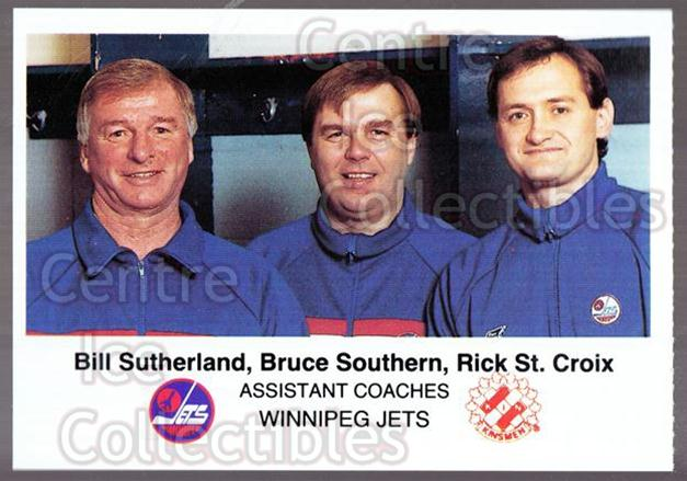 1988-89 Winnipeg Jets Police #23 Bruce Southern, Bill Sutherland, Rick St.Croix<br/>1 In Stock - $3.00 each - <a href=https://centericecollectibles.foxycart.com/cart?name=1988-89%20Winnipeg%20Jets%20Police%20%2323%20Bruce%20Southern,...&quantity_max=1&price=$3.00&code=23136 class=foxycart> Buy it now! </a>
