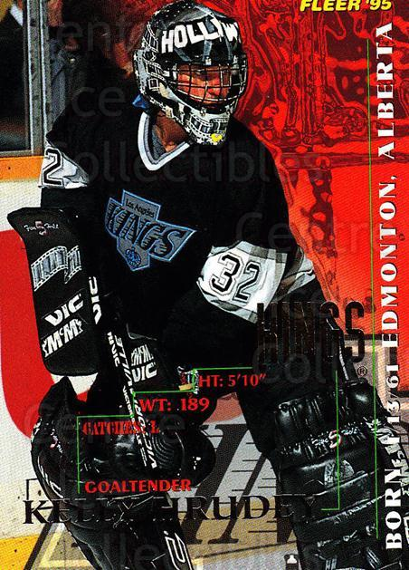 1994-95 Fleer #95 Kelly Hrudey<br/>5 In Stock - $1.00 each - <a href=https://centericecollectibles.foxycart.com/cart?name=1994-95%20Fleer%20%2395%20Kelly%20Hrudey...&quantity_max=5&price=$1.00&code=231711 class=foxycart> Buy it now! </a>