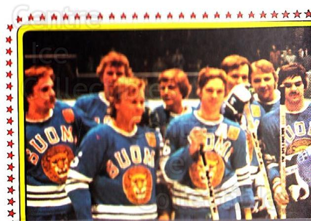 1979 Panini Stickers #158 Team Finland, Team Photo<br/>4 In Stock - $2.00 each - <a href=https://centericecollectibles.foxycart.com/cart?name=1979%20Panini%20Stickers%20%23158%20Team%20Finland,%20T...&quantity_max=4&price=$2.00&code=232064 class=foxycart> Buy it now! </a>