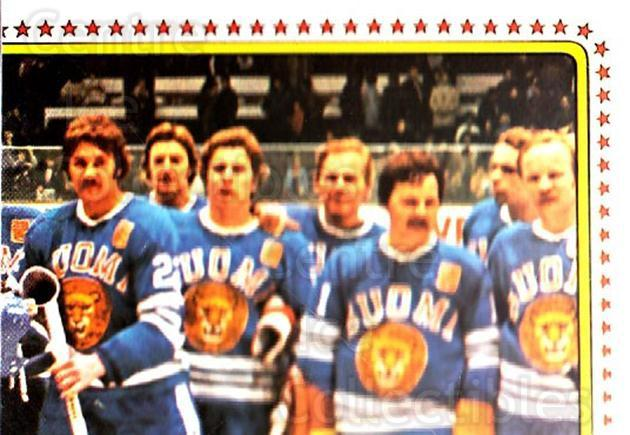 1979 Panini Stickers #159 Team Finland, Team Photo<br/>3 In Stock - $2.00 each - <a href=https://centericecollectibles.foxycart.com/cart?name=1979%20Panini%20Stickers%20%23159%20Team%20Finland,%20T...&quantity_max=3&price=$2.00&code=232065 class=foxycart> Buy it now! </a>