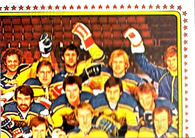 1979 Panini Stickers #181 Team Sweden, Team Photo<br/>7 In Stock - $2.00 each - <a href=https://centericecollectibles.foxycart.com/cart?name=1979%20Panini%20Stickers%20%23181%20Team%20Sweden,%20Te...&quantity_max=7&price=$2.00&code=232087 class=foxycart> Buy it now! </a>