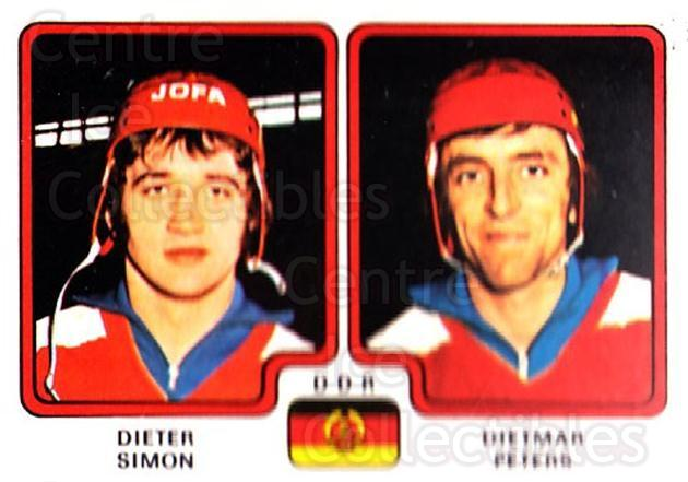 1979 Panini Stickers #250 Dieter Simon, Dietmar Peters<br/>6 In Stock - $2.00 each - <a href=https://centericecollectibles.foxycart.com/cart?name=1979%20Panini%20Stickers%20%23250%20Dieter%20Simon,%20D...&quantity_max=6&price=$2.00&code=232156 class=foxycart> Buy it now! </a>