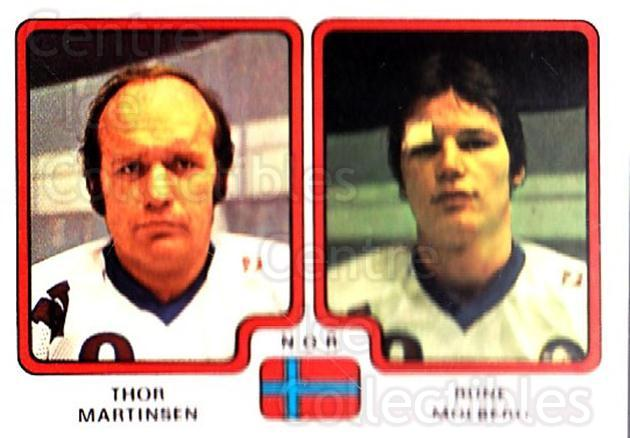 1979 Panini Stickers #295 Thor Martinsen, Rune Molberg<br/>8 In Stock - $2.00 each - <a href=https://centericecollectibles.foxycart.com/cart?name=1979%20Panini%20Stickers%20%23295%20Thor%20Martinsen,...&quantity_max=8&price=$2.00&code=232201 class=foxycart> Buy it now! </a>
