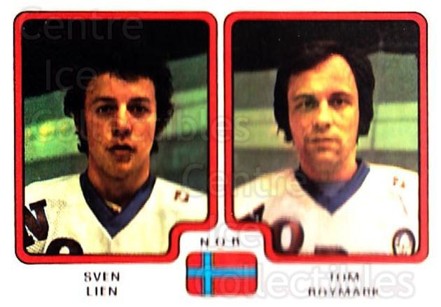 1979 Panini Stickers #297 Sven Lien, Tom Roymark<br/>7 In Stock - $2.00 each - <a href=https://centericecollectibles.foxycart.com/cart?name=1979%20Panini%20Stickers%20%23297%20Sven%20Lien,%20Tom%20...&quantity_max=7&price=$2.00&code=232203 class=foxycart> Buy it now! </a>