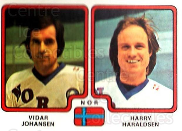 1979 Panini Stickers #299 Vidar Johansen, Harry Haraldsen<br/>7 In Stock - $2.00 each - <a href=https://centericecollectibles.foxycart.com/cart?name=1979%20Panini%20Stickers%20%23299%20Vidar%20Johansen,...&quantity_max=7&price=$2.00&code=232205 class=foxycart> Buy it now! </a>