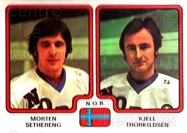 1979 Panini Stickers #300 Morten Sethereng, Kjell Thorkildsen<br/>6 In Stock - $2.00 each - <a href=https://centericecollectibles.foxycart.com/cart?name=1979%20Panini%20Stickers%20%23300%20Morten%20Setheren...&quantity_max=6&price=$2.00&code=232206 class=foxycart> Buy it now! </a>