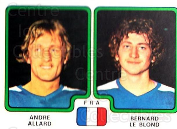 1979 Panini Stickers #381 Andre Allard, Bernard Le Blond<br/>5 In Stock - $2.00 each - <a href=https://centericecollectibles.foxycart.com/cart?name=1979%20Panini%20Stickers%20%23381%20Andre%20Allard,%20B...&quantity_max=5&price=$2.00&code=232287 class=foxycart> Buy it now! </a>