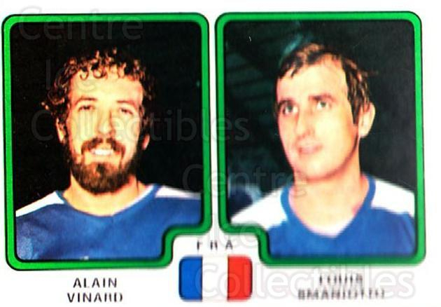 1979 Panini Stickers #384 Alain Vinard, Louis Smaniotto<br/>3 In Stock - $2.00 each - <a href=https://centericecollectibles.foxycart.com/cart?name=1979%20Panini%20Stickers%20%23384%20Alain%20Vinard,%20L...&quantity_max=3&price=$2.00&code=232290 class=foxycart> Buy it now! </a>