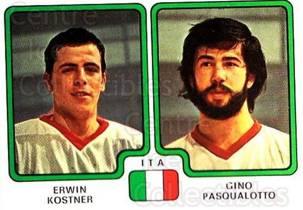1979 Panini Stickers #388 Erwin Kostner, Gino Pasqualotto<br/>5 In Stock - $2.00 each - <a href=https://centericecollectibles.foxycart.com/cart?name=1979%20Panini%20Stickers%20%23388%20Erwin%20Kostner,%20...&quantity_max=5&price=$2.00&code=232294 class=foxycart> Buy it now! </a>