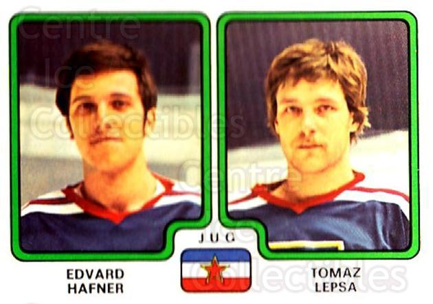 1979 Panini Stickers #398 Edvard Hafner, Tomaz Lepsa<br/>9 In Stock - $2.00 each - <a href=https://centericecollectibles.foxycart.com/cart?name=1979%20Panini%20Stickers%20%23398%20Edvard%20Hafner,%20...&quantity_max=9&price=$2.00&code=232304 class=foxycart> Buy it now! </a>