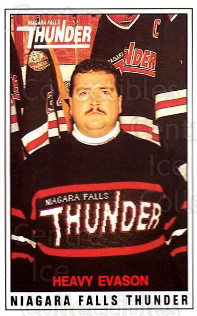1988-89 Niagara Falls Thunder #25 Heavy Evason, Checklist<br/>5 In Stock - $3.00 each - <a href=https://centericecollectibles.foxycart.com/cart?name=1988-89%20Niagara%20Falls%20Thunder%20%2325%20Heavy%20Evason,%20C...&quantity_max=5&price=$3.00&code=23256 class=foxycart> Buy it now! </a>