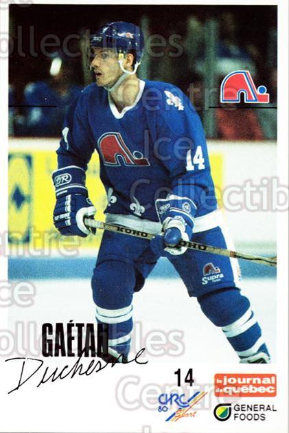 1988-89 Quebec Nordiques General Foods #8 Gaetan Duchesne<br/>3 In Stock - $3.00 each - <a href=https://centericecollectibles.foxycart.com/cart?name=1988-89%20Quebec%20Nordiques%20General%20Foods%20%238%20Gaetan%20Duchesne...&quantity_max=3&price=$3.00&code=23262 class=foxycart> Buy it now! </a>