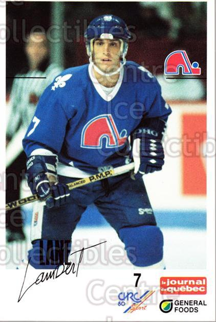 1988-89 Quebec Nordiques General Foods #20 Lane Lambert<br/>3 In Stock - $3.00 each - <a href=https://centericecollectibles.foxycart.com/cart?name=1988-89%20Quebec%20Nordiques%20General%20Foods%20%2320%20Lane%20Lambert...&quantity_max=3&price=$3.00&code=23272 class=foxycart> Buy it now! </a>