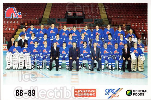 1988-89 Quebec Nordiques General Foods #38 Quebec Nordiques, Team Photo<br/>1 In Stock - $3.00 each - <a href=https://centericecollectibles.foxycart.com/cart?name=1988-89%20Quebec%20Nordiques%20General%20Foods%20%2338%20Quebec%20Nordique...&price=$3.00&code=23284 class=foxycart> Buy it now! </a>
